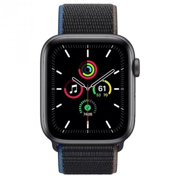 Apple Watch SE 44mm GPS + LTE (cellular) Aluminium w kolorze gwiezdnej szarości z opaską sportową w kolorze węgla drzewnego - nowy model