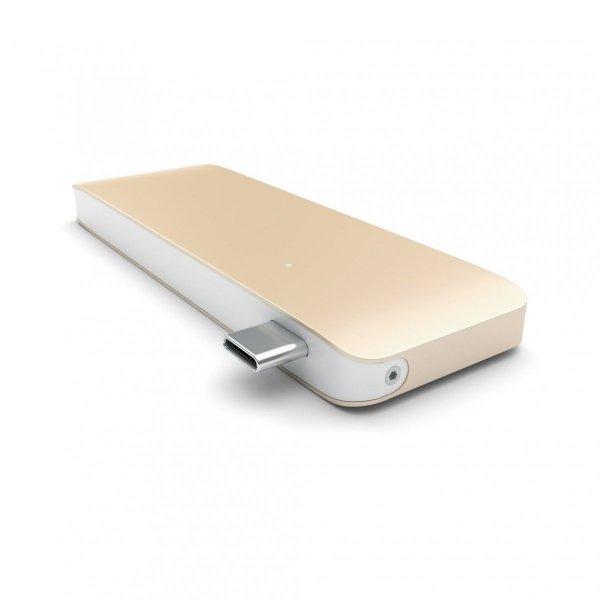 Satechi Pass Through USB-C Hub - USB 3.0/USB-C (Power Delivery)/SD/microSD/Gold