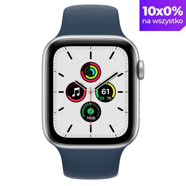 Apple Watch SE 44mm GPS Aluminium w kolorze srebrnym z paskiem sportowym w kolorze błękitnej toni