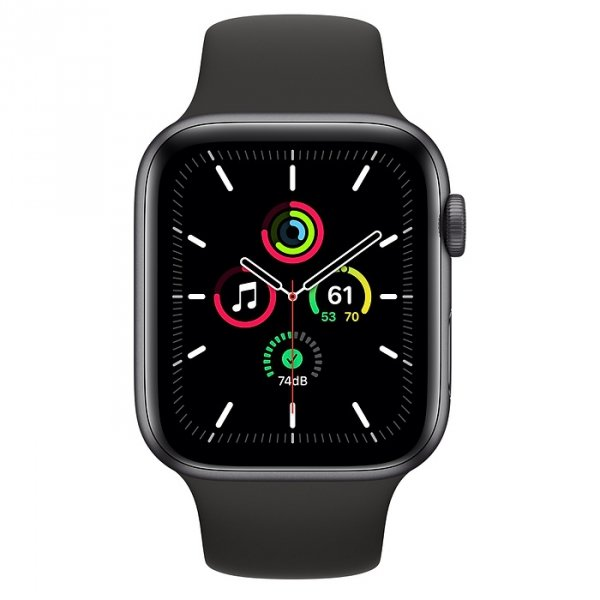 Apple Watch SE 44mm GPS Aluminium w kolorze gwiezdnej szarości z paskiem sportowym w kolorze czarnym - nowy model