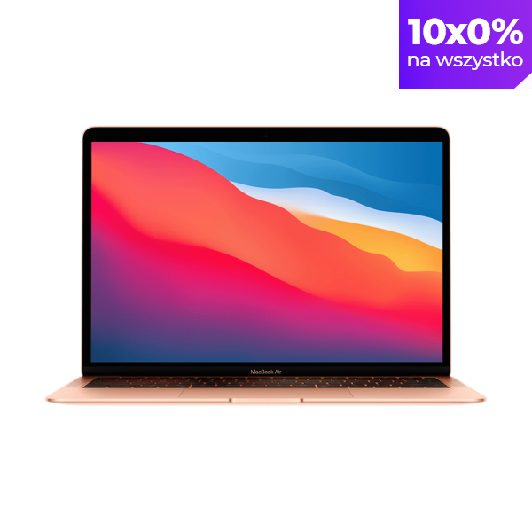 MacBook Air z Procesorem Apple M1 - 8-core CPU + 7-core GPU /  16GB RAM / 256GB SSD / 2 x Thunderbolt / Gold