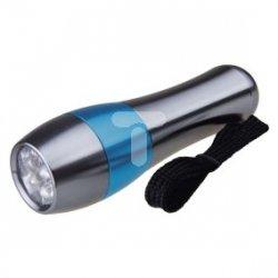 Latarka metalowa LED 50lm 3xAAA srebrna/niebieska P3878
