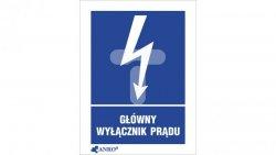 Tabliczka ostrzegawcza /GŁÓWNY WYŁĄCZNIK PRĄDU 148X210/ 20EIA/Q4/F
