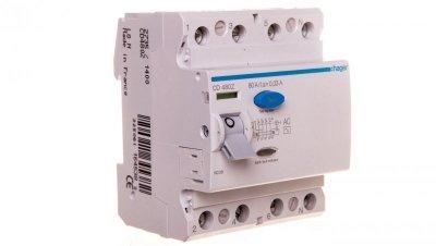 Wyłącznik różnicowoprądowy 4P 80A 0,03A typ AC CD480Z