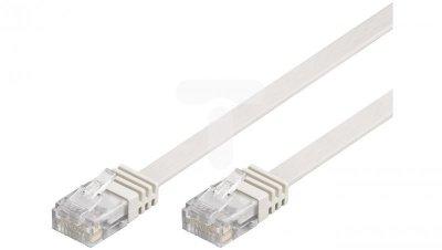 Kabel krosowy płaski patchcord U/UTP kat.5e biały 1m 93358