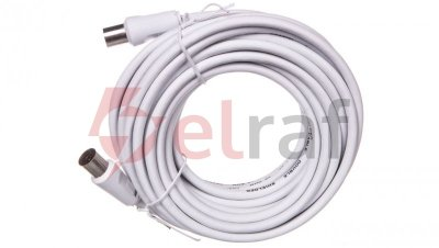 Przewód antenowy IEC 7,5m biały 11513