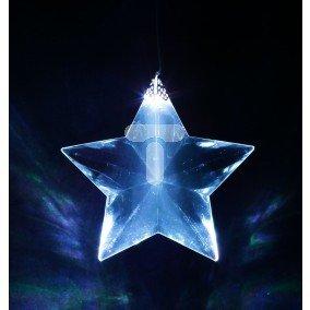 Gwiazda LED ażurowa ozdoba okienna na baterie  przeźroczysty przewód 1L biała 10-402