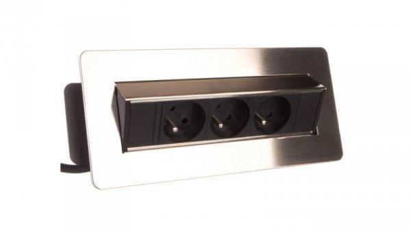 Gniazdo wpuszczane w blat 3x250V w niklowanej obudowie z przewodem 1,8m OR-AE-1363