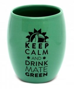 Matero Ceramiczne Zielone OVAL logo yerba mate