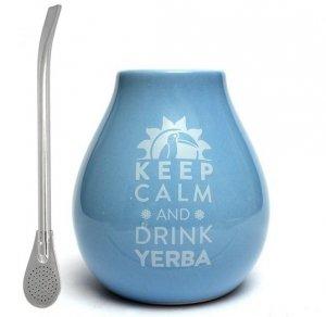 Matero Ceramiczne Błękitne Keep calm and Drink Yerba Mate + BOMBILLA