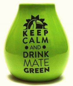 Matero Ceramiczne Zielone Logo Keep calm and Drink Yerba Mate