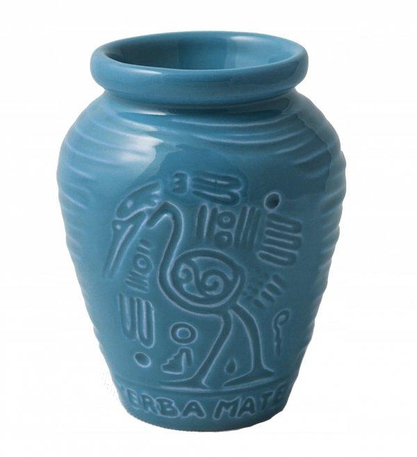Matero Ceramiczne AZTEK Niebieskie do Yerba Mate