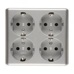 Gniazdo wtyczkowe poczwórne z uziemieniem typu Schuko z przesłonami torów prądowych - wersja skandynawska (kompletny produkt) 16