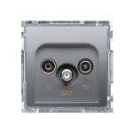 Gniazdo antenowe R-TV-SAT przelotowe tłum.:10dB srebrny mat, metalizowany