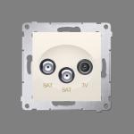 Gniazdo antenowe SAT-SAT-RTV satelitarne podwójne tłum.:1dB kremowy