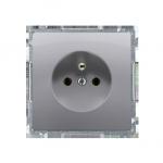 Gniazdo wtyczkowe pojedyncze z uziemieniem z przesłonami torów prądowych inox, metalizowany 16A