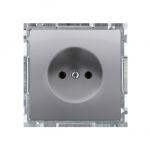 Gniazdo wtyczkowe podjedyncze bez uziemienia z przesłonami torów prądowych inox, metalizowany 16A