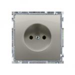 Gniazdo wtyczkowe podjedyncze bez uziemienia z przesłonami torów prądowych satynowy, metalizowany 16A