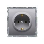 Gniazdo wtyczkowe pojedyncze z uziemieniem typu Schuko z przesłonami torów prądowych inox, metalizowany 16A
