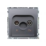 Gniazdo antenowe R-TV zakończeniowe do gniazd przelotowych tłum.:10dB inox, metalizowany
