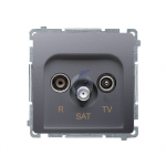 Gniazdo antenowe R-TV-SAT przelotowe tłum.:10dB inox, metalizowany