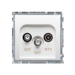 Gniazdo antenowe SAT-SAT-RTV satelitarne podwójne tłum.:1dB biały
