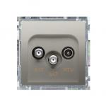 Gniazdo antenowe SAT-SAT-RTV satelitarne podwójne tłum.:1dB satynowy, metalizowany