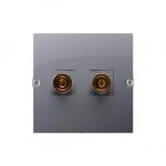 Gniazdo głośnikowe pojedyncze inox, metalizowany