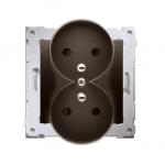 Gniazdo wtyczkowe podwójne z uziemieniem z przesłonami - do Ramek PREMIUM (moduł) 16A 250V, zaciski śrubowe, brąz mat, metalizow
