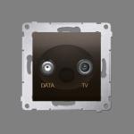 Gniazdo antenowe TV-DATA tłum.:5dB brąz mat, metalizowany