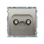 Gniazdo antenowe TV-DATA tłum.:5dB satynowy, metalizowany