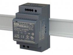 HDR-60-12 wejście 85-264V AC, wyjście 12V DC / 4,5A / 54W, montaż na szynie DIN, regulacja napięcia wyjściowego 10,8 - 13,8V DC