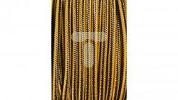 Kolorowy przewód mieszkaniowy H03VV-F (OMY) 3G 0,75 żo w oplocie tekstylnym pionowe paski żółto-grafitowe PPPPZOGF01 /bębnowy/