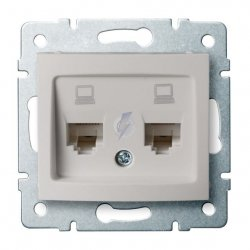 Gniazdo komputerowe podwójne niezależne, (2x RJ45Cat 6  Jack) DOMO 01-1420-030 pe 24992