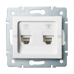 Gniazdo telefoniczne podwójne niezależne (2xRJ11) LOGI 02-1380-002 bi 25107