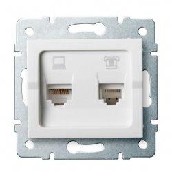 Gniazdo komputerowo-telefoniczne (RJ45 Cat 5e+RJ11) LOGI 02-1430-002 bi 25112