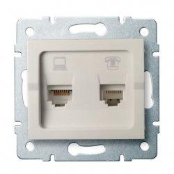 Gniazdo komputerowo-telefoniczne (RJ45 Cat 5e+RJ11) LOGI 02-1430-003 kr 25171