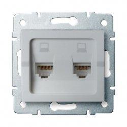 Gniazdo komputerowe podwójne niezależne, (2x RJ45Cat 6  Jack) LOGI 02-1420-043 sr 25229