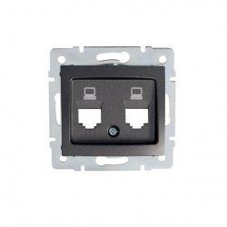 Adapter gniazdo komputerowe podwójne niezależne, (2x RJ45 Jack), bez gniazda DOMO 01-1419-041 gr 25933