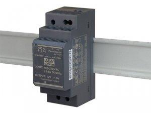 HDR-30-12 wejście 85-264V AC, wyjście 12V DC / 2A / 24W, montaż na szynie DIN, regulacja napięcia wyjściowego 10,8 - 13,8V DC