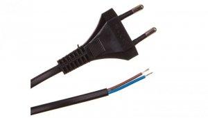 Przewód z płaską wtyczką b/u H03VVH2-F 2x0,5 czarny S-13-0,5-2-2 /2m/