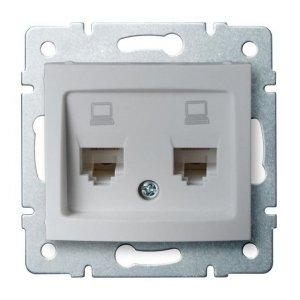 Gniazdo komputerowe podwójne niezależne (2x RJ45Cat 6 Jack) DOMO 01-1420-043 sr 24874