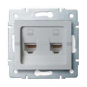 Gniazdo komputerowe podwójne niezależne (2x RJ45Cat 6 Jack) LOGI 02-1420-043 sr 25229