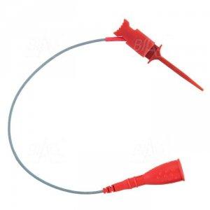 Chwytak bezp. pazurkowy 1N-0014-R + przewód gn. 2mm CAT II 300V, 2A czerwony