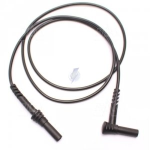 PPS1C-0002-BK Przewód bezp. banan kątowy-prosty 4mm , 10A, CAT IV 600V, SILIKON. czarny