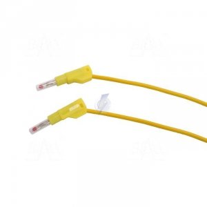 PPS2-B100 Przewód pom. 2x banan bezp. 4mm, 1m, 20A CAT II 600V SILIKON żółty