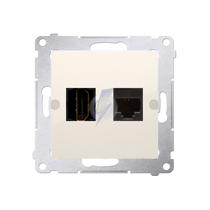 Gniazdo HDMI + komputerowe RJ45 kat.6. kremowy