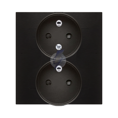 Gniazdo wtyczkowe podwójne z uziemieniem z funkcją niezmienności faz (kompletny produkt) 16A 250V, zaciski śrubowe, antracyt, me