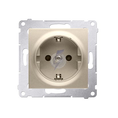 Gniazdo wtyczkowe pojedyncze z uziemieniem typu Schuko z przesłonami torów prądowych do ramek Nature do ramek Premium (moduł) 16