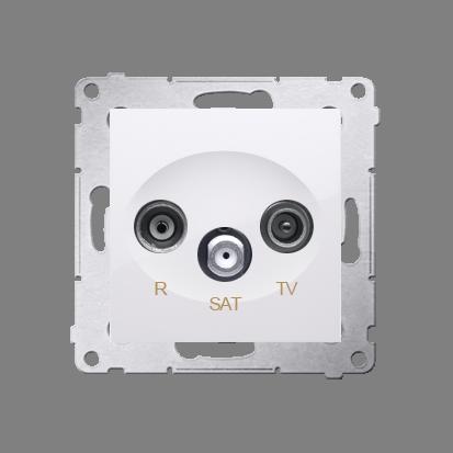 Gniazdo antenowe R-TV-SAT przelotowe tłum.:10dB biały